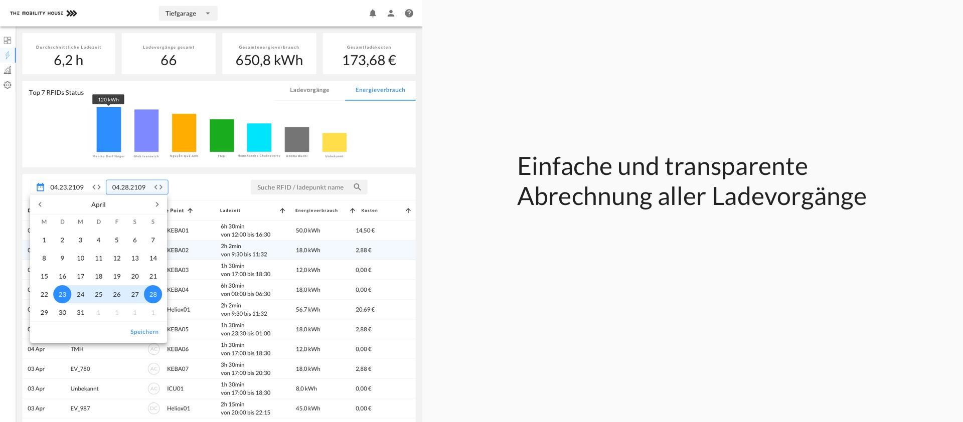 User Interface: Einfache Abrechnung