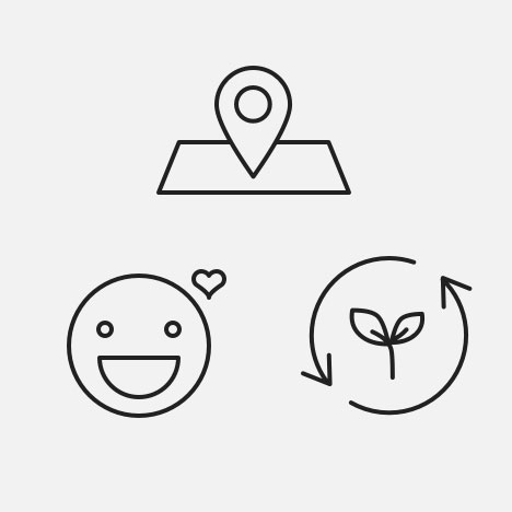 Icons: location - sustainability - happiness