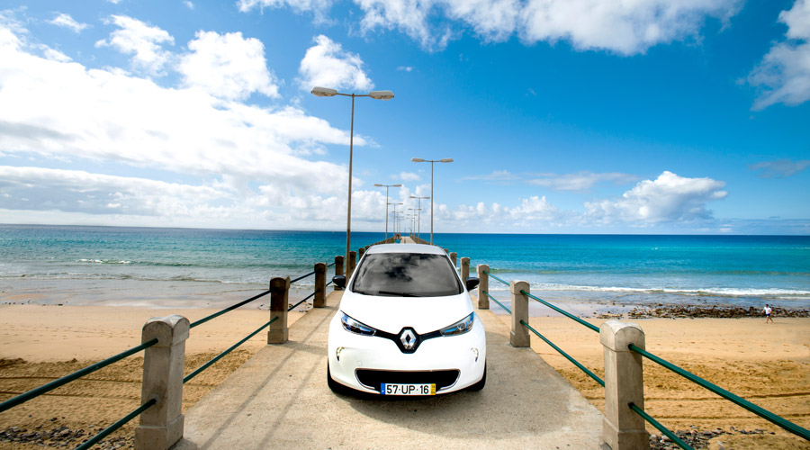 Renault Zoe by the beach on Porto Santo island
