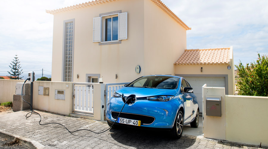 Renault Zoe charging at home on Porto Santo island