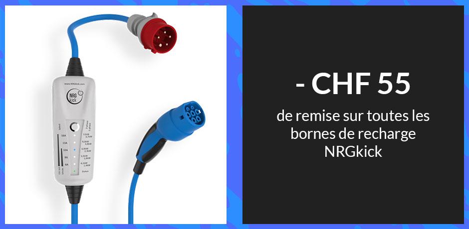 CHF 55 de remise sur toute les bornes de recharge NRGkick