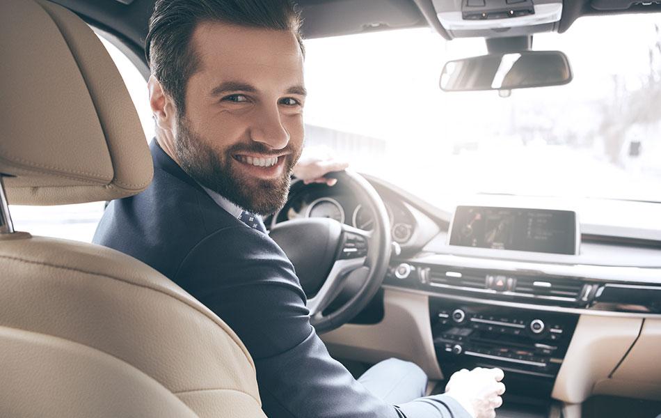 Man in a company car