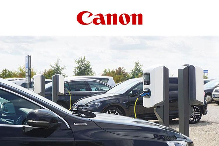 Ladeinfrastruktur am Unternehmensparkplatz von Canon